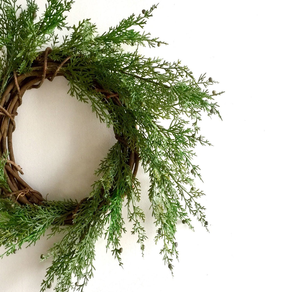Artificial Juniper Wreath on Grapevine Wreath Frame | Artificial Pine Wreath on Grapevine Wreath Ring | Everlasting Juniper Wreath for Christmas