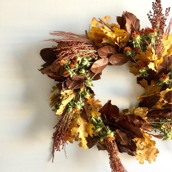 Copper Salal Wreath | Yellow Oak Wreath | Safflower Wreath | Wheat Wreath for Front Door | Lemon Leaf and Oak Leaf Wreath