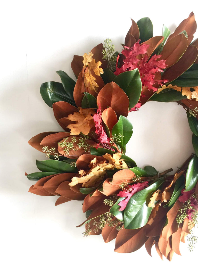 Magnolia and Red Oak Wreath for Fall | Magnolia and Red Oak Wreath for Thanksgiving | Dried Magnolia Leaf and Red Oak Wreath | Fresh Magnolia Leaf and Yellow Oak Wreath | Preserved Yellow and Red Oak Wreath with Eucalyptus | Seeded Eucalyptus and Preserved Oak Wreath with Magnolia