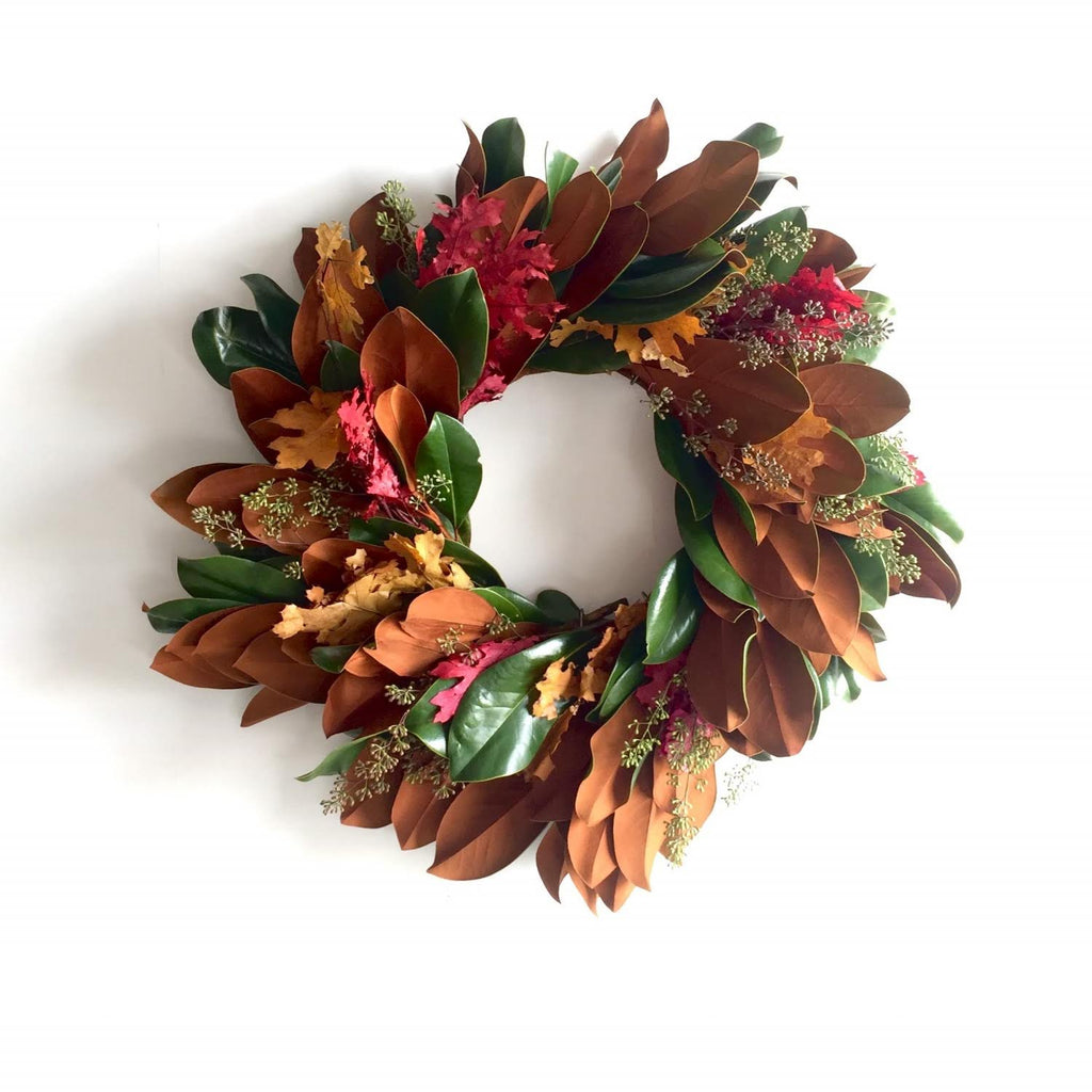 Magnolia and Red Oak Wreath for Fall | Magnolia and Red Oak Wreath for Christmas | Dried Magnolia Leaf and Red Oak Wreath | Fresh Magnolia Leaf and Yellow Oak Wreath | Preserved Yellow and Red Oak Wreath with Eucalyptus | Seeded Eucalyptus and Preserved Oak Wreath with Magnolia