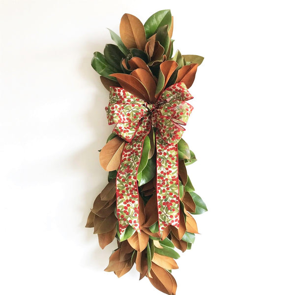 Golden Magnolia Swag | Club Botanic | Outdoor Swag | Door Swag Wreath | Wreath Swag for Door | Holiday Swag