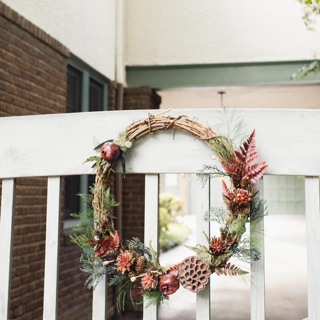 Sweeney Ridge Red Leather Fern Wreath