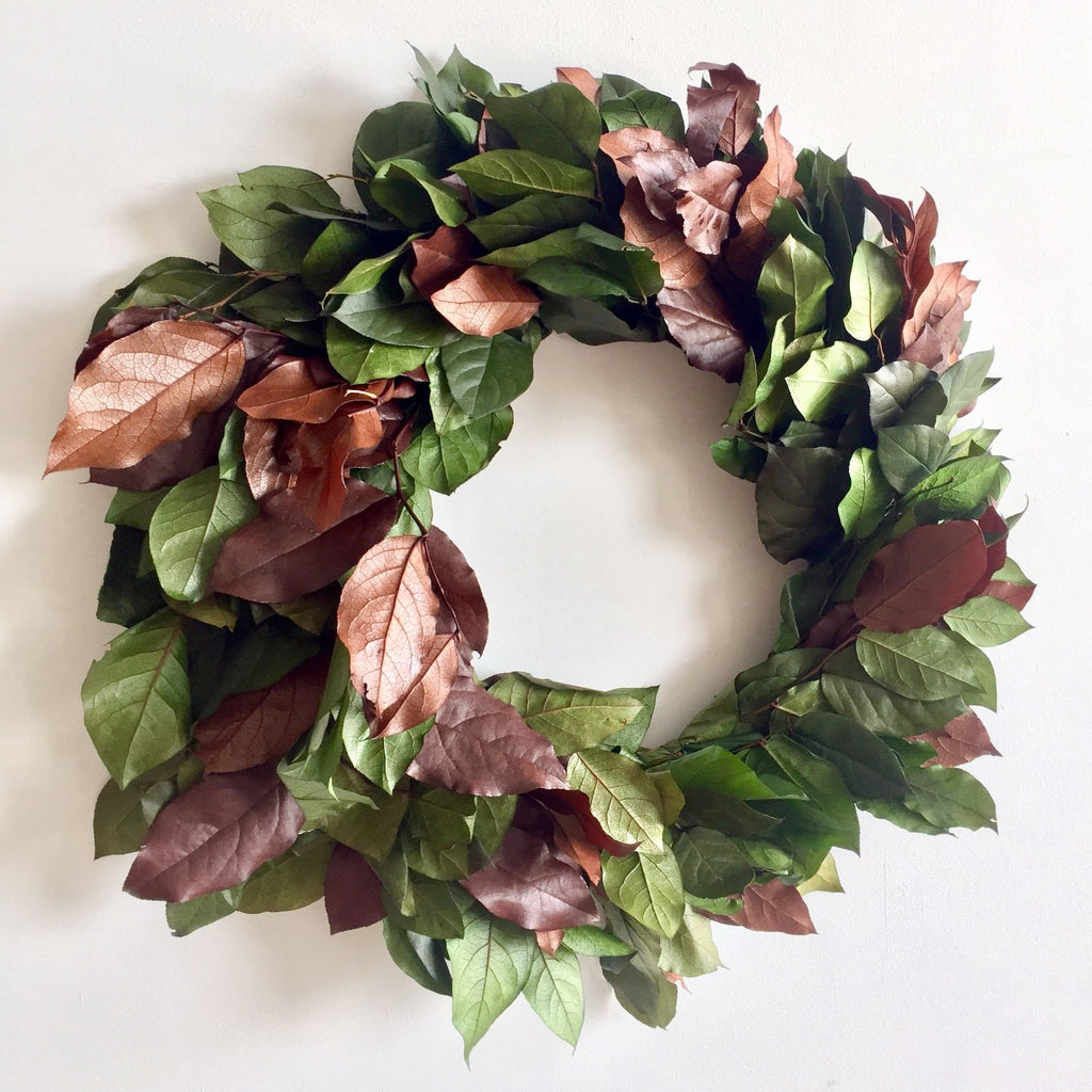 Wreath for hanging year round | Copper Salal Wreath | Green Salal Wreath | Dried Salal Wreath | Green Lemon Leaf Wreath | Brown Lemon Leaf Wreath