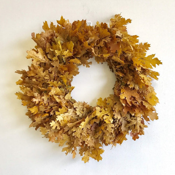Yellow Oak Leaf Wreath | Club Botanic | Preserved Oak Wreath | Preserved Oak Leaf Wreath Gold | Dried Oak Wreath | Dried Oak Leaf Wreath for Fall | Autumn Door Wreath Oak