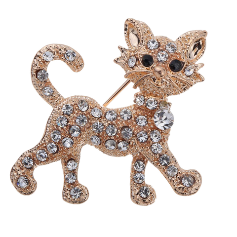 826050477 Rhinestone Cat Brooch - Greaser Lifestyle Affordable Clothing & Accessories