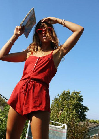 women's red playsuit