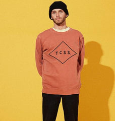 Boy in orange hoodless sweatshirt with TCSS. written on it against yellow background