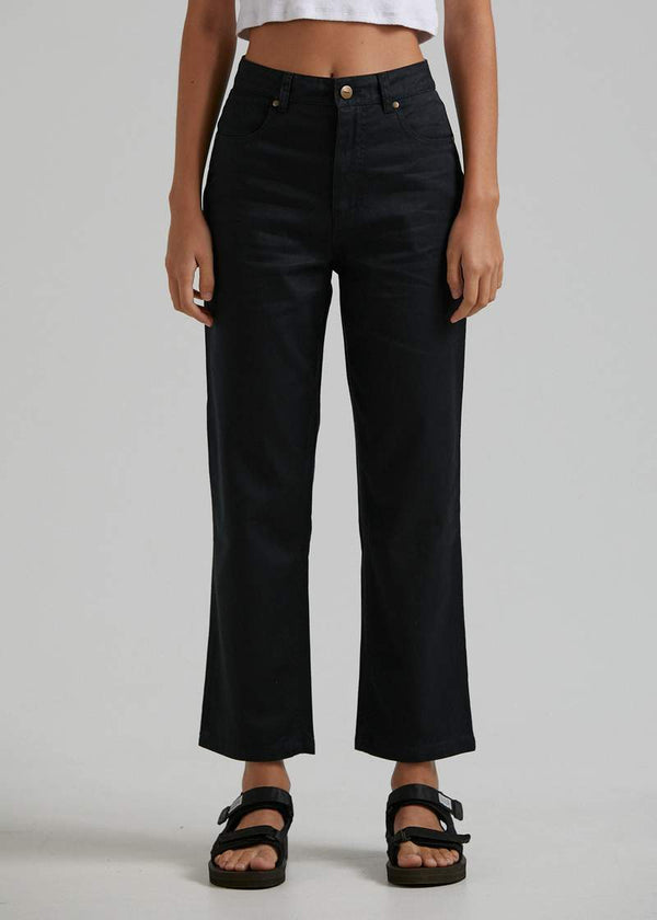 Afends Shelby Hemp Twill High Waisted Wide Leg Pant - Black
