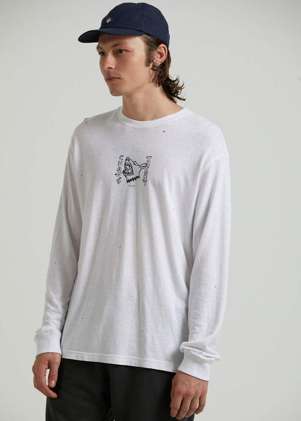 Afends Chaos Theory Hemp Retro Fit LS Tee - White