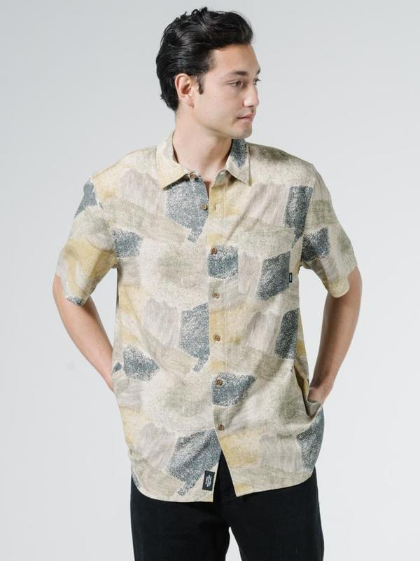 Thrills Brushed Paradise Short Sleeve Shirt - Tan