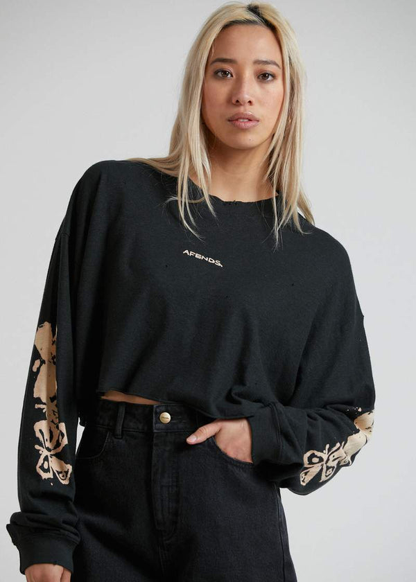 Afends Consequences Hemp Cropped LS Tee - Black