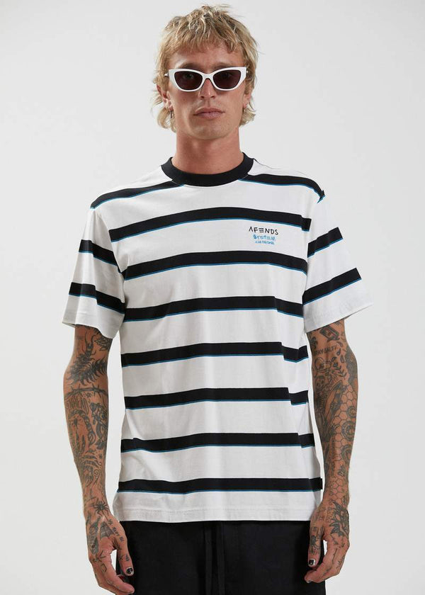 Afends Fight Stripe Retro Fit Tee - Blanc