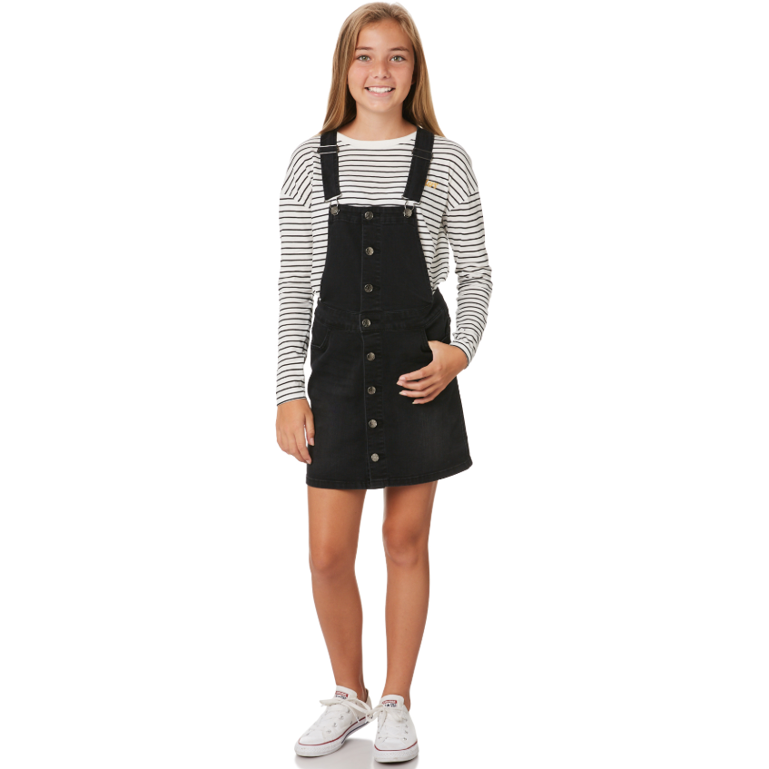 Riders Button Thru Dungaree Dress - Licorice Wash-RIDERS BY LEE-Anchor Chief