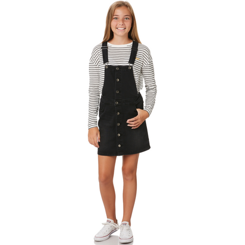 Image of Riders Button Thru Dungaree Dress - Licorice Wash-RIDERS BY LEE-Anchor Chief