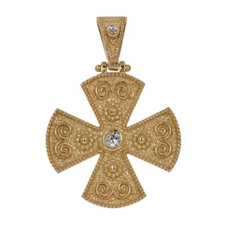 Byzantine Solitaire Gold Cross