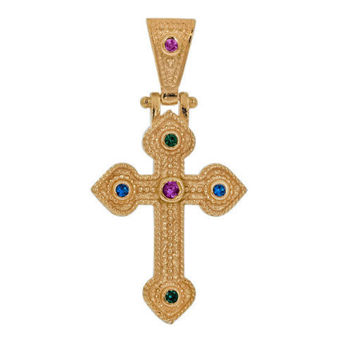 Byzantine Solitaire Gold Crucifix