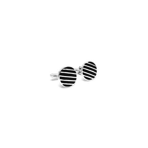 Black Stripe Circle Cufflinks - Ray's Jewellery