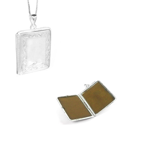 Silver Rectangular Pendant Lockets - Ray's Jewellery