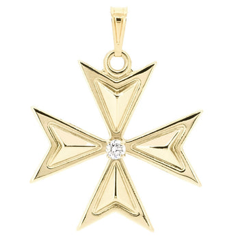 Gold Zirconiaaro Maltese Cross - Ray's Jewellery