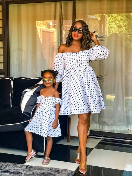 Mother & Daughter Love Offshoulder Dress Set