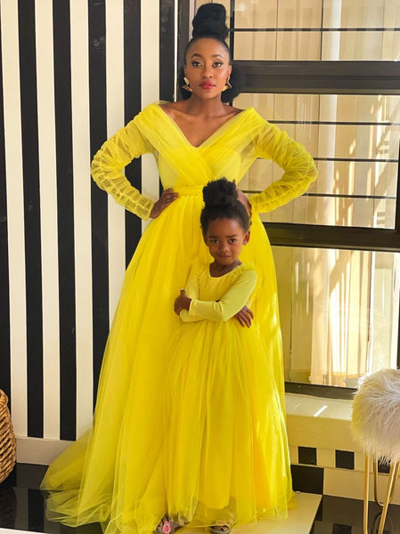 Mama & Baba Yellow Glam Dress Set