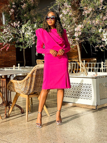 Ruby Pink Shoulder Dress