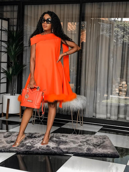 Orange Fur Fleur Dress