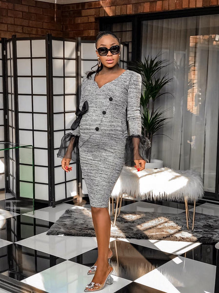 Grey Mesh Sleeved Bow Bodycon Dress