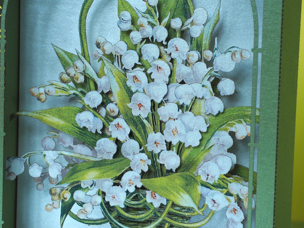 Lilies of the valley paper pop up card. Flowers, spring. Gift her, wife, mother, sister, girl, girlfriend. Love. Mother's Day