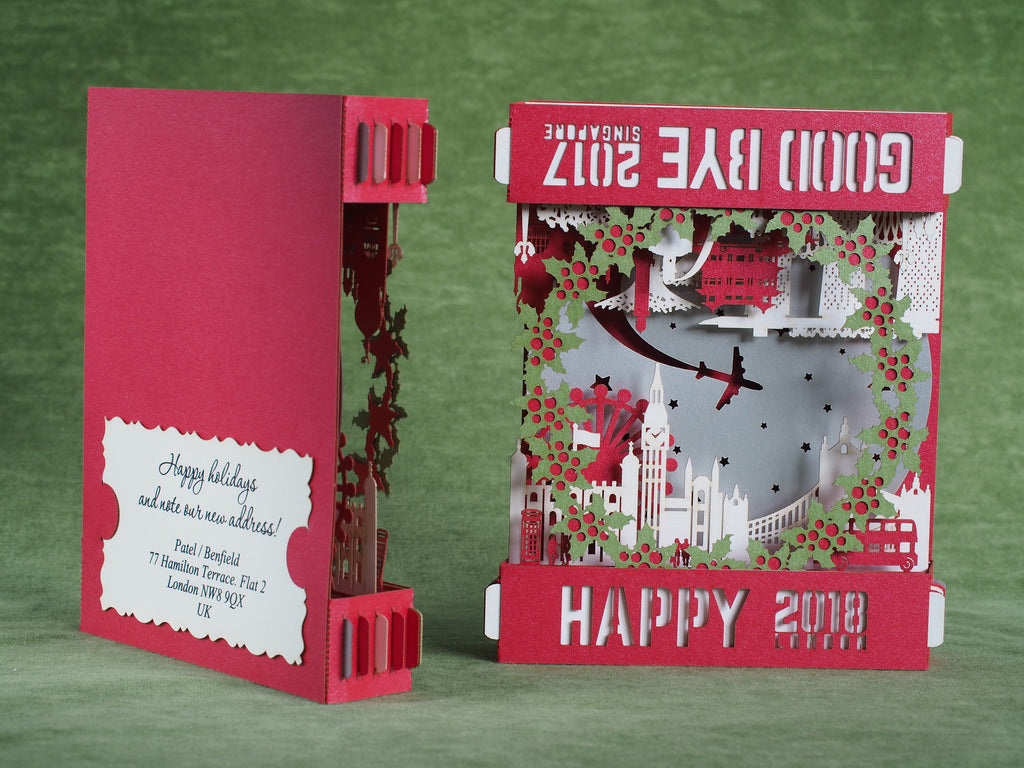 Birthday greeting card thank you cards custom cards pop up 3d singapore london moving card change of address announcement moving home new home new house travel the kristyandbryce Gallery