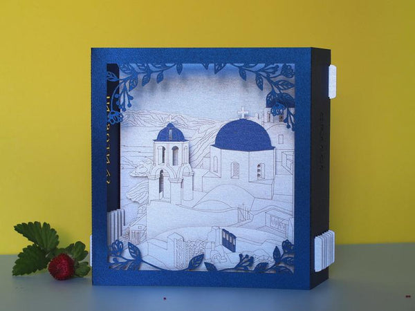 Santorini Greece pop-up card