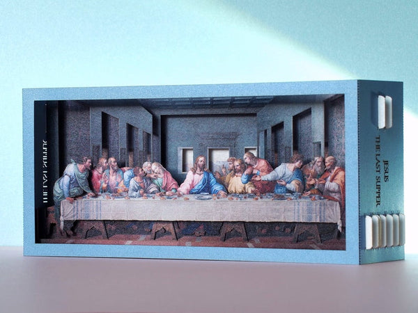 Easter Gift The Last Supper of Jesus with his apostles. Pop up paper art miniature Leonardo da Vinci painting.