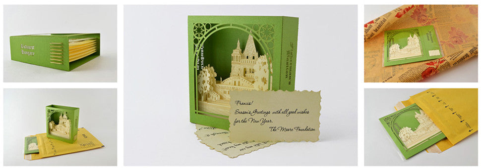 Greeting pop up cards for graduation, save the date, wedding, birthday cards, thank you, wedding invitations, corporate event, any occasion, Fisherman Bastion, Hungary