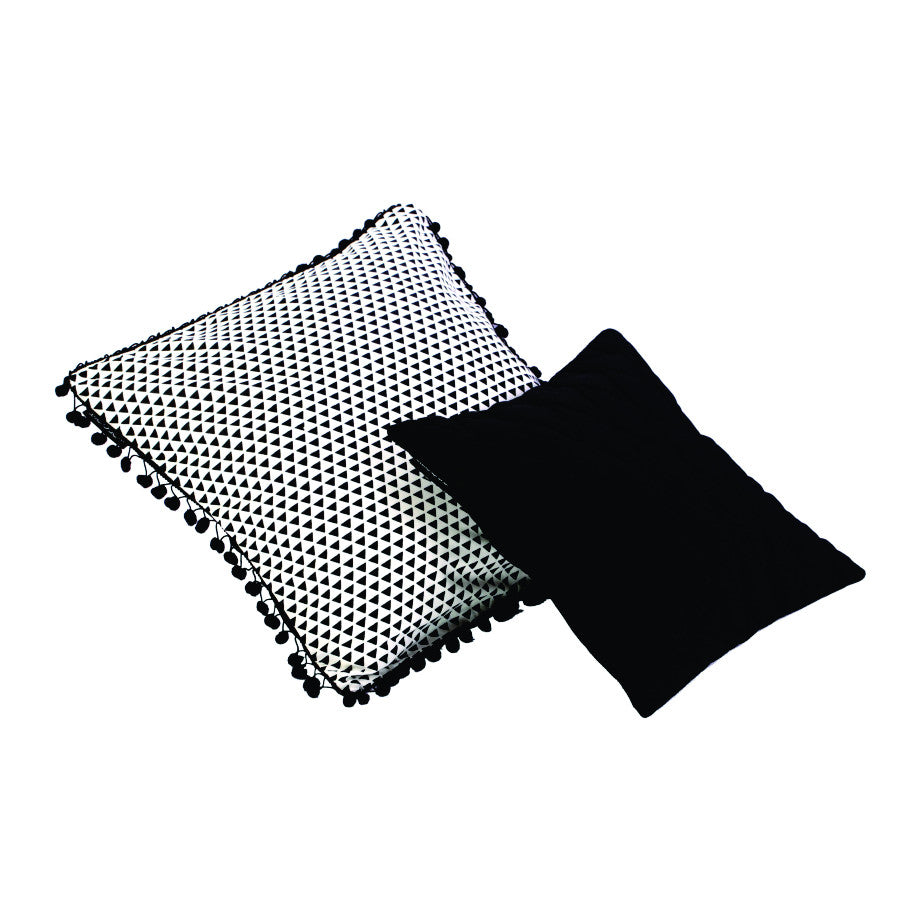 TRIANGLES + POMPOMS CUSHION COVER