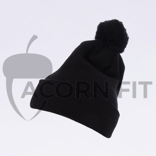 Wholesale Flexfit Beanies: 1501P Black Pom Pom Beanie