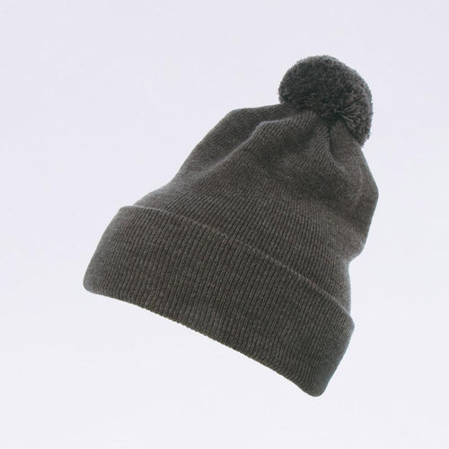 Wholesale Flexfit Beanies: 1501P Charcoal Grey Pom Pom Beanie