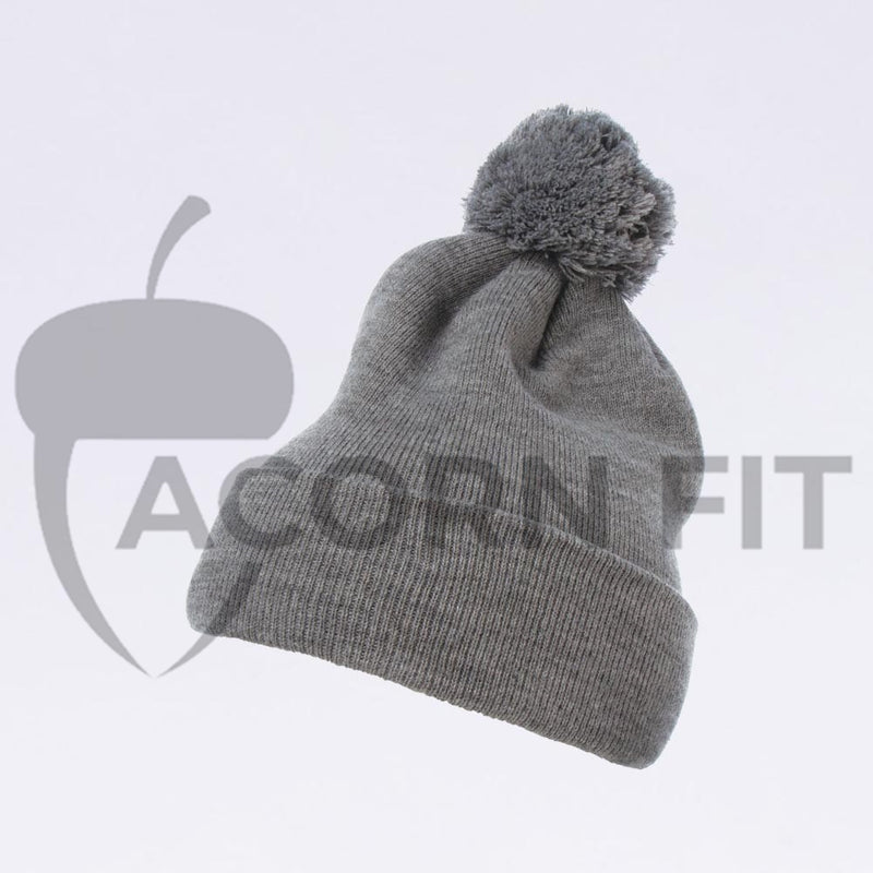 Wholesale Flexfit Beanies: 1501P Heather Grey Pom Pom Beanie