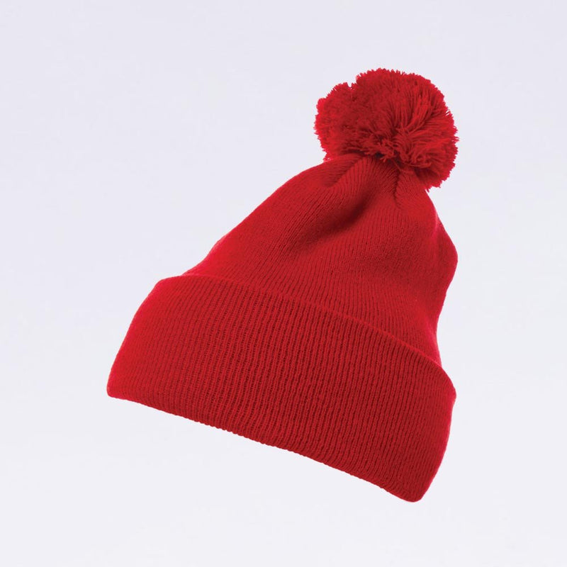 Wholesale Flexfit Beanies: 1501P Red Pom Pom Beanie