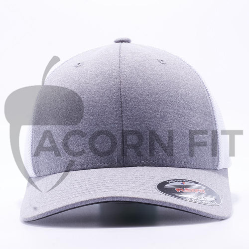 Heather and White 6311 Flexfit Melange Mesh Trucker Hats Wholesale Custom - Acorn Fit