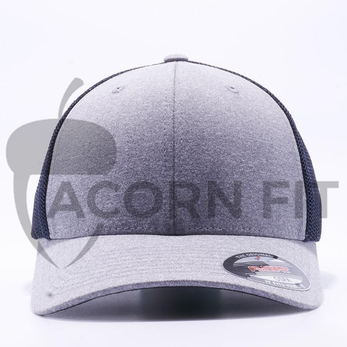 Heather and Navy 6311 Flexfit Melange Mesh Trucker Hats Wholesale Custom - Acorn Fit
