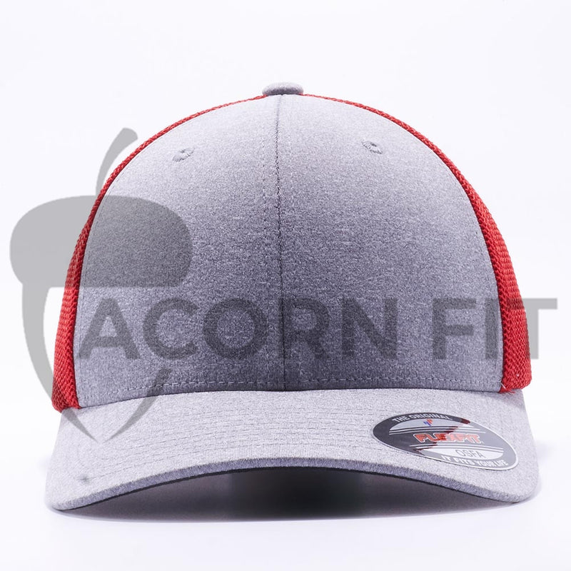 Heather and Red 6311 Flexfit Melange Mesh Trucker Hats Wholesale Custom - Acorn Fit