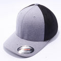 Heather and Black 6311 Flexfit Melange Mesh Trucker Hats Wholesale Custom - Acorn Fit