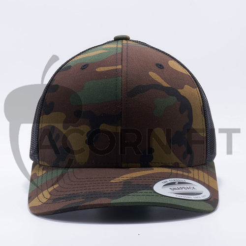 Yupoong The Classics Retro Trucker Hats Caps Camo Black 6606CA Wholesale and Custom - Acorn Fit