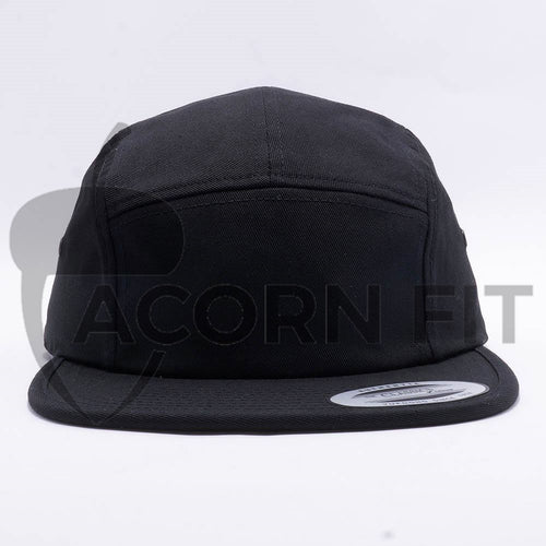 Black Blank 5 Panel Camper Hat Cap