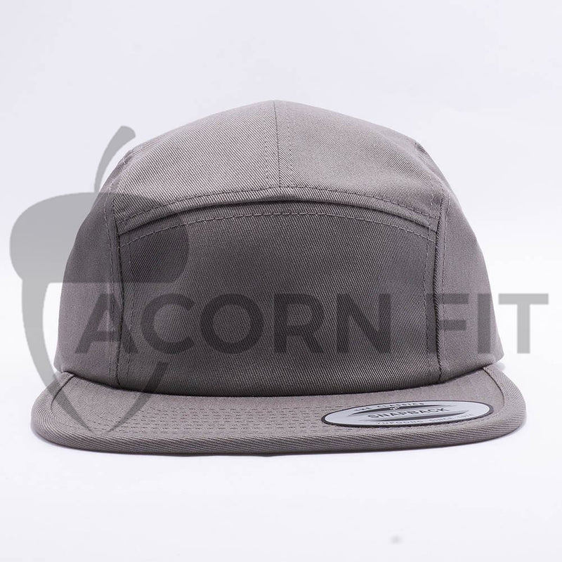 Grey Blank 5 Panel Camper Hat Cap