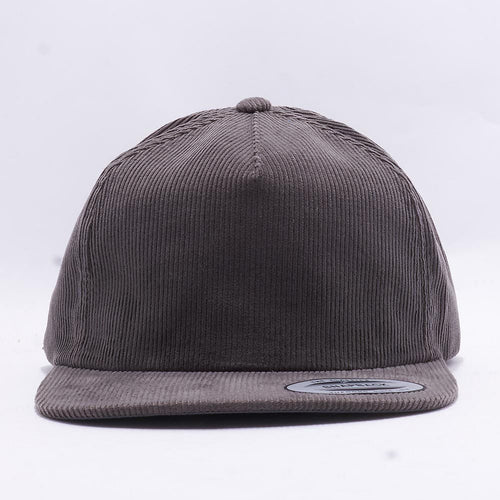 Grey Corduroy 5 Panel Snapback Hat Cap
