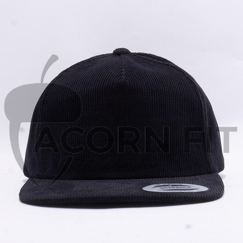 Black Corduroy 5 Panel Snapback Hat Cap