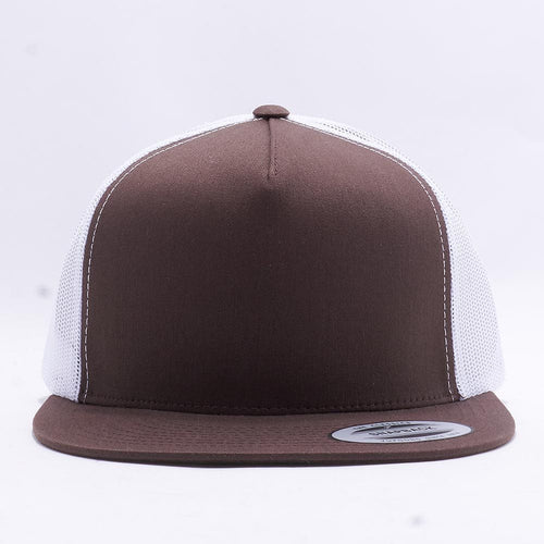 Yupoong Brown White 5 Panel Trucker