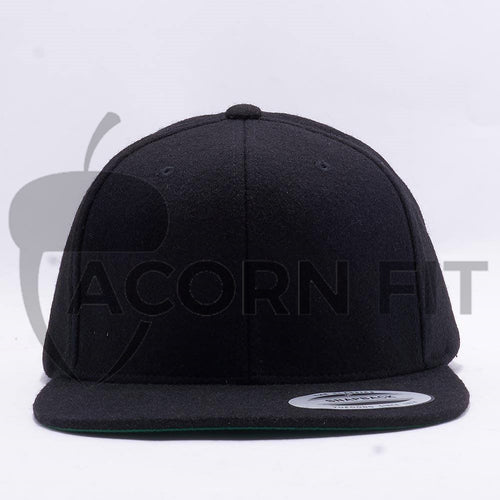 Black Melton Wool Snapback Hat
