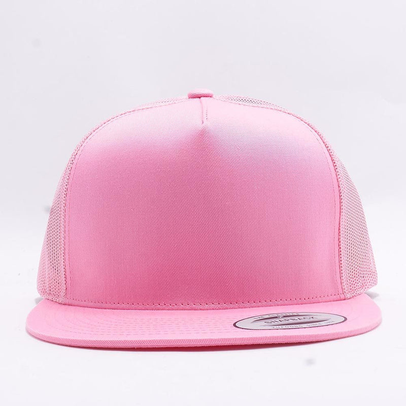Yupoong Pink 5 Panel Trucker